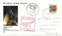 MALAISIE - Carte Premier Vol Lufthansa LH 775 Boeing 747 - Djakarta => Kuala Limpur => Bangkok 1989 - Malaysia (1964-...)