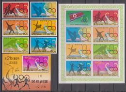 North Korea 17.07.1976  Mi # 1508-13 A, 1508-14С Kleinbogen A Bl 26A Montreal Summer Olympics (I) MNH OG - Verano 1976: Montréal