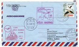 INDONESIE - Enveloppe Premier Vol Lufthansa LH 8440 - COLOGNE => MADRAS - An 2000 - Indonésie