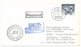 SUEDE - Carte Premier Vol Lufthansa Airbus A310 - KIEL => NICE 1987 / Cachet Paquebot - Briefe U. Dokumente