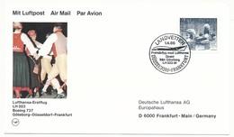 SUEDE - Enveloppe Premier Vol Lufthansa LH 003 Boeing 737 - Göteborg => Dusseldorf => Francfort 1986 - Briefe U. Dokumente