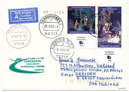NATIONS UNIES VIENNE - Carte Premier Lufthansa LH 1568 SARREBRUCK => DRESDE - 2000 - Centre International De Vienne