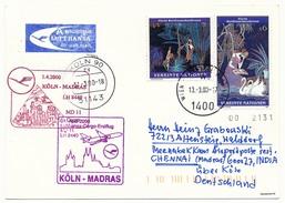 NATIONS UNIES VIENNE - Carte Premier Lufthansa LH 8440 COLOGNE => MADRAS - 2000 - Centre International De Vienne
