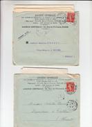 """2 Lettres  + Envel BANCAIRE De PARIS  1911   Avec  """"  Timbre  PERFORE SG  10c Rouge  """" - France"""