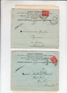 """2 Lettres  + Envel BANCAIRE De PARIS  1911 Et 1912   Avec  """"  Timbre  PERFORE SG  10c Rouge  """" - France"""