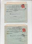 """2 Lettres  + Envel BANCAIRE De PARIS    1912   Avec  """"  Timbre  PERFORE SG  10c Rouge  """" - France"""