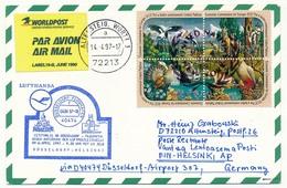 NATIONS UNIES N.Y - Carte Premier Vol Lufthansa D 40474 DUSSELDORF => HELSINKI 1997 - New-York - Siège De L'ONU