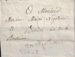 COTE D'OR - 20 NUITS - LETTRE DE GILLY LE 2 JANVIER 1817 - AVEC TEXTE ET SIGNATURE (P1) - Marcophilie (Lettres)