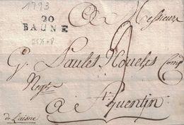 COTE D'OR - 20 BAUNE - LETTRE DE BEAUNE LE 6 MAI 1793 - AVEC TEXTE ET SIGNATURE - REGNE LOUIS XVI (P1) - 1801-1848: Voorlopers XIX
