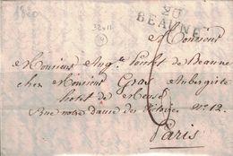 COTE D'OR - 20 BEAUNE - LETTRE DE BEAUNE LE 24 SEPTEMBRE 1820 - AVEC LONG TEXTE ET SIGNATURE (P1) - Marcophilie (Lettres)