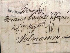 COTE D'OR - BEAUNE - LETTRE DE BEAUNE LE 17 AOUT 1791 -  LENAIN N°3 - AVEC TEXTE ET SIGNATURE - REGNE LOUIS XVI (P1) - Marcophilie (Lettres)