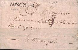 COTE D'OR - AUXONNE -  LENAIN N°3 - SANS TEXTE - ENTRE 1758 ET 1784 - PERIODE LOUIS XV-LOUIS XVI (P1) - Marcophilie (Lettres)