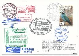 """TRINIDAD - Affranchissement Oiseaux Sur CP - Circuit """"das Traumshiff Berlin"""" 2000 - Nombreux Cachets - Trinité & Tobago (1962-...)"""