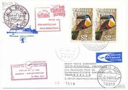 """TRINIDAD - Affranchissement Oiseaux Sur CP - Circuit """"das Traum-shiff Berlin"""" 2000 - Nombreux Cachets - Trinidad & Tobago (1962-...)"""