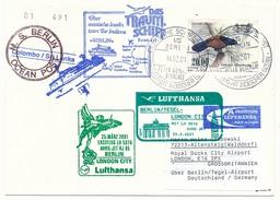 "SKRI LANKA - Affranchissement Oiseaux Sur CP - Circuit ""das Traum-shiff Berlin"" 2001 - Nombreux Cachets - Sri Lanka (Ceylon) (1948-...)"