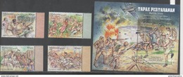 MALAYSIA, 2016, MNH,BATTLE SITES IN MALAYSIA, WWII, SOLDIERS, BATTLES, 4v+S/SHEET - WW2