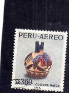 PERU' 1968 AIR MAIL POSTA AEREA FAIR NAZCA CULTURE ROUND JUG DECORATED SOL 3.60s USATO USED OBLITERE' - Peru