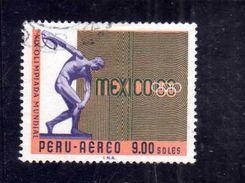 PERU' 1969 AIR MAIL POSTA AEREA CORREO AEREO OLYMPIC GAMES DISCOBOLUS SOL 9s USATO USED OBLITERE' - Peru