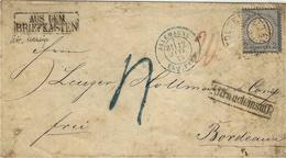 "1875- Lettre D'Allemagne Affr. Michel N°34 Seul  "" Aus Dem / Briefkasten "" + Affranch: Insuff  TAXE 4 Tampon BLEU - Briefe U. Dokumente"