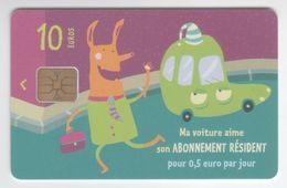 Mairie De Paris, Carte Abonnement Parking Résident, Ma Voiture Aime..., 10 Euros - Altre Collezioni