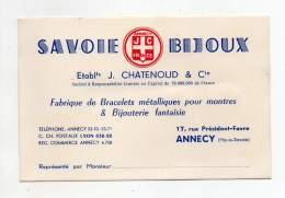 Carte De Visite - Savoie Bijoux, Ets. J. Chatenoud & Cie, Annecy - Cartes De Visite