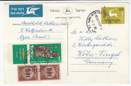 Israel Postal Stationery Postcard Travelled Air Mail 1960 To Germany B171025 - Covers & Documents