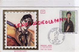 60- CREIL- A. MODIGLIANI- FEMME AUX YEUX BLEUS- 25 OCTOBRE 1980- TIMBRE SUR SOIE - FDC