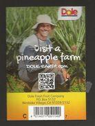# PINEAPPLE DOLE Calibre 7 Type 2 (White Bar Code) Fruit Tag Balise Etiqueta Anhanger Ananas Pina Costa Rica - Fruits & Vegetables