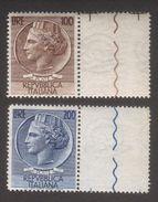 1954 Italia Turrita O Siracusana - Fil. Ruota - 100 E 200 Lire - S.165 - Leggera Brunitura - Vedere Descrizione - 1946-60: Ungebraucht