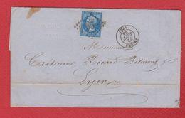 Lettre   / De Amiens  / Pour Lyon  / 22 Septembre 1864 - Poststempel (Briefe)