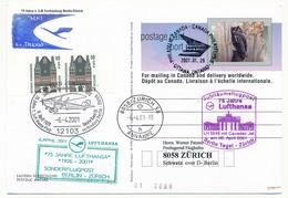 CANADA - Vol Lufthansa LH 5546 Canadair Jet BERLIN => ZURICH 2001 - Airmail