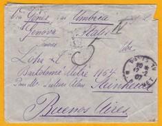 1907 Messageries Maritimes France Argentine - Paquebot Umbria - Paris-Buenos Aires Via Gênes, Italie - Maritime Post