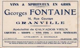 Buvard Vins & Spiritueux Georges Fontaine 14 Rue Couraye Granville - Blotters