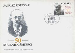 POLAND FDC 1992 50TH DEATH ANNIV KORCZAK KILLED IN WW2 NAZI GERMANY DEATH CAMP AUSCHWITZ EDUCATIONALIST Judaica - Seconda Guerra Mondiale