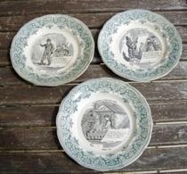 """- Trois  Assiettes   Plates   """" La  Chanson  à  Tous  Les  Ages """"   ,   XIXè  - - Creil Montereau (FRA)"""