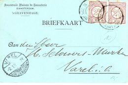 1899 Bk Met Firmalogo Van 's-GRAVENHAGE Naar Varel Met Paar NVPH33 - Poststempel