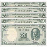 TWN - CHILE 126b1 - 5/50 Centesimos/Pesos 1960-61 DEALERS LOT X 5 - Serie C 21-25 - Signatures: Mackenna & Ibañez UNC - Chili