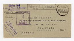 """!!! LETTRE DU STALAG OSCHATZ DE 1944 POUR LA FRANCE, CACHET """"L'HOMME DE CONFIANCE"""" - Guerre De 1939-45"""