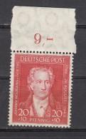 Alliierte Besetzung Bizone  20 Pf Geburtstag Goethe 1949 - ** Postfrisch, Oberrand - Zona Anglo-Americana