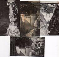 79Mn  Lot De 4 Photos Construction Barrage Du Sautet (Isère) Sur La Rivière Le Drac - Da Identificare