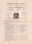 """PARIS - ORGUES HARMONIUMS """" AEOLUS """" , ORGUE PLIANT ET PORTATIF - J. J. GEBHARDT - PUBLICITE ET TARIF - Publicités"""