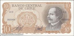 TWN - CHILE 143a - 10 Escudos 1976 Serie A 15 - Signatures: Inostroza & Barrios UNC - Cile