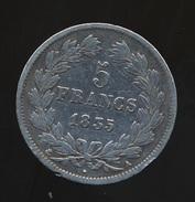 Pièce De 5 Francs Louis Philippe 1835 A - Argent 900/1000  - 2 Scans - France