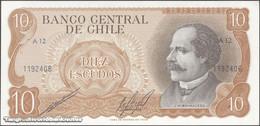 TWN - CHILE 143b - 10 Escudos 1976 Serie A 12 - Signatures: Cano & Molina UNC - Cile