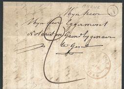 L Càd BRUGELETTE/1849 + Boîte Rurale N De Marke Pour Gand - 1830-1849 (Belgique Indépendante)
