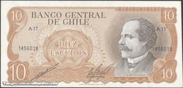 TWN - CHILE 143b - 10 Escudos 1976 Serie A 17 - Signatures: Cano & Molina UNC - Cile