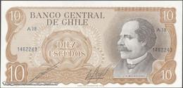 TWN - CHILE 143b - 10 Escudos 1976 Serie A 18 - Signatures: Cano & Molina UNC - Cile