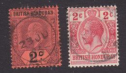 British Honduras, Scott #63, 76, Used, Edward VII And George V, Issued 1902, 1913 - British Honduras (...-1970)