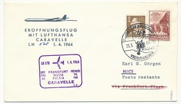 DANEMARK - Enveloppe Premier Vol Par Caravelle Francfort => Nice => Palma - 1/4/1984 - Aéreo