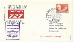 DANEMARK - Enveloppe Premier Vol Par Boeing 727 Lufthansa - Frankfort => Palma Et Retour - 1965 - Poste Aérienne